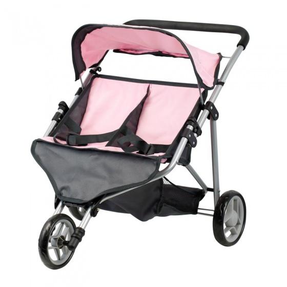 Mini Mommy poppenbuggy tweeling roze-grijs 65 x 48 x 56 cm