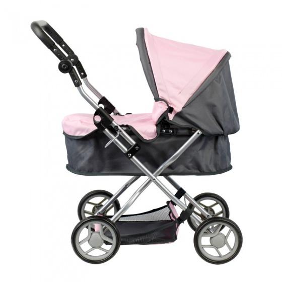 Mini Mommy poppenwagen roze-grijs 63,5 x 42 x 70 cm