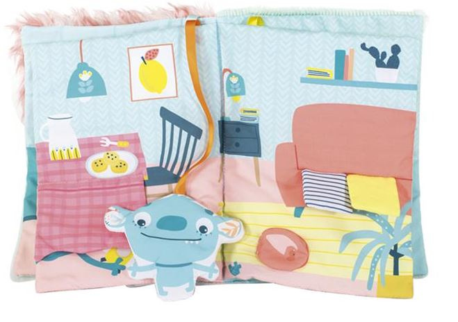Miniland babyboekje monster 21 x 27 cm katoen blauw-oranje