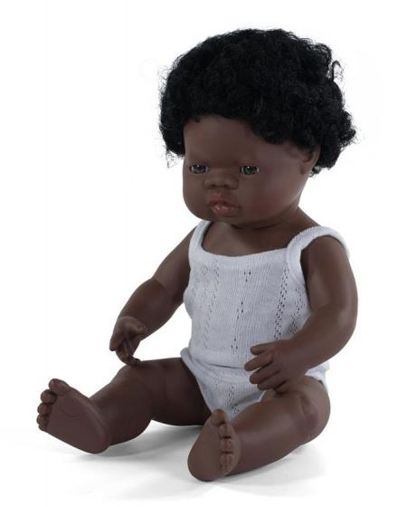 Miniland babypop jongetje met vanillegeur 38 cm zwart haar