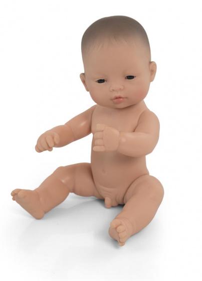 Miniland babypop zonder kleding Aziatisch jongen 32 cm bruin
