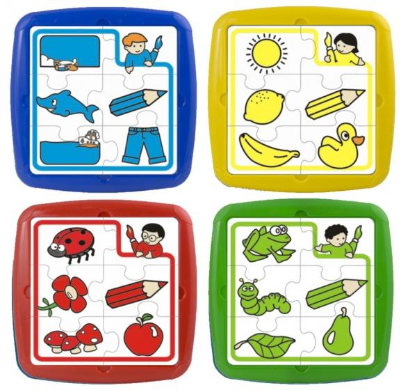 Miniland leerpuzzels Primary 6 stukjes junior 26 cm 4 stuks