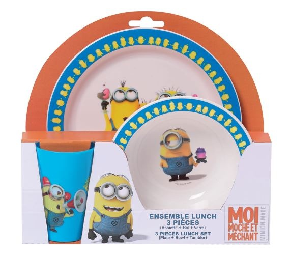 Minions Lunchset kunststof 3 delig wit