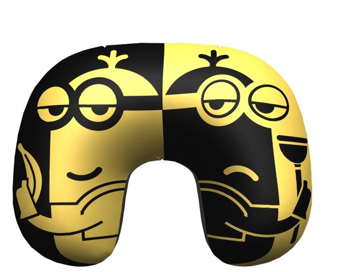 Minions opblaasbaar nekkussen Minons 28 cm geel/zwart kopen