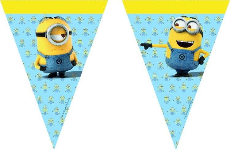 Minions vlaggenlijn 230 cm blauw/geel
