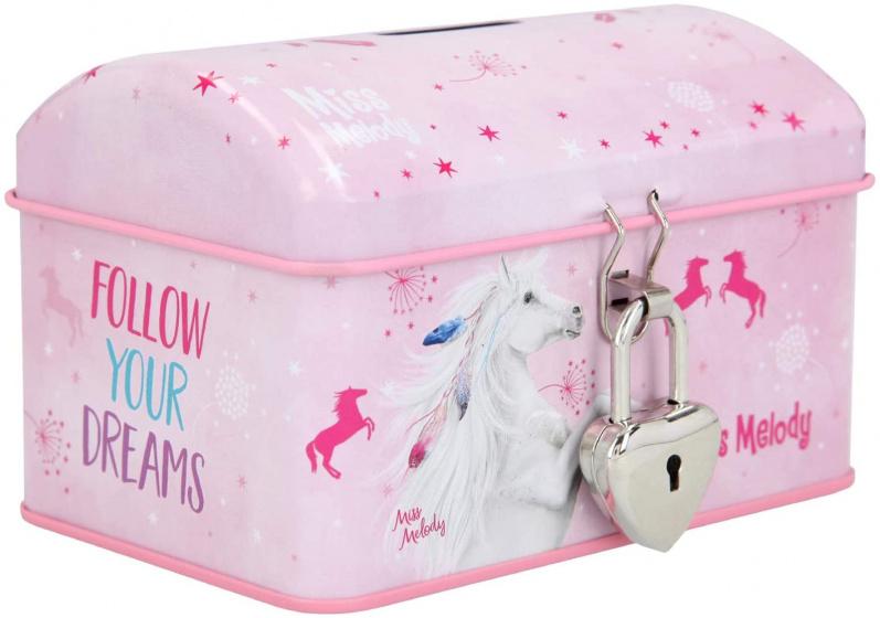 Miss Melody spaarpot meisjes 9 x 12 cm staal roze 4 delig