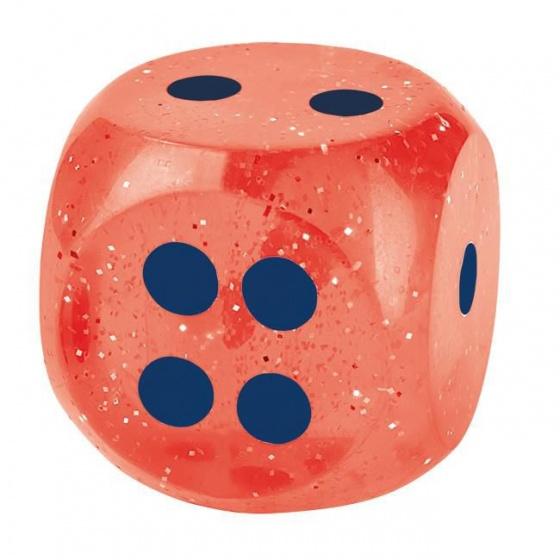 Moses glitterdobbelsteen/ stuiterbal 4 cm rood