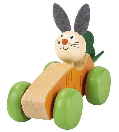 Moses houten auto paashaas 11 cm blank-groen