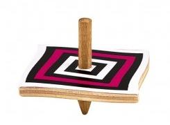 Moses houten tol met optische illusie 5 cm roze/zwart