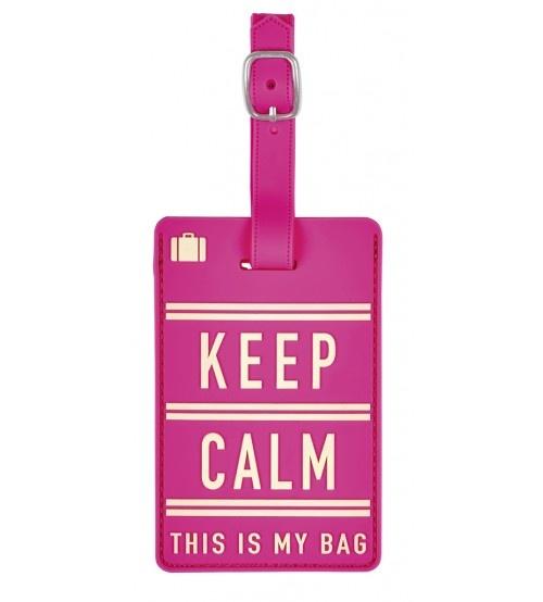 Moses kofferlabel Keep Calm 11 x 7 cm roze kopen