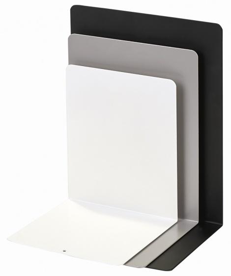 Moses Libri_x boekensteunen staal zwart-wit-grijs 3 stuks