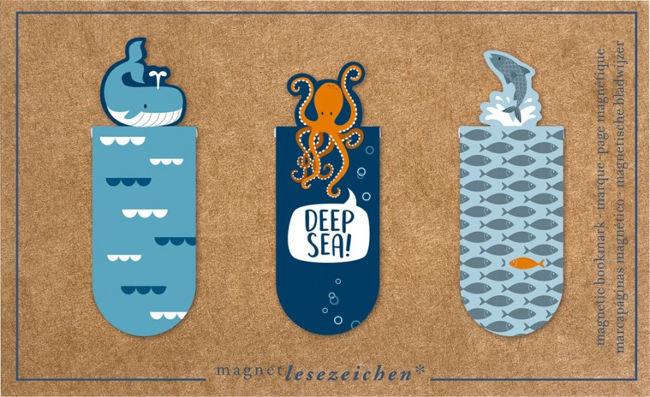 Moses magnetische boekenlegger Oceaan set van 3 blauw