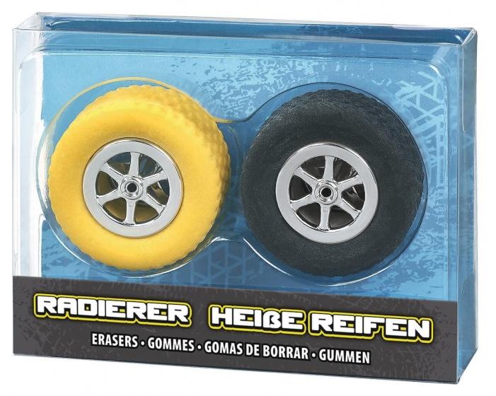 Moses set gummen Autobanden 3,5 cm zwart/geel 2 delig kopen