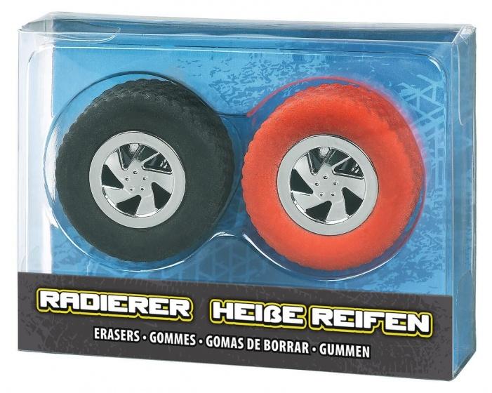 Moses set gummen Autobanden 3,5 cm zwart/rood 2 delig kopen
