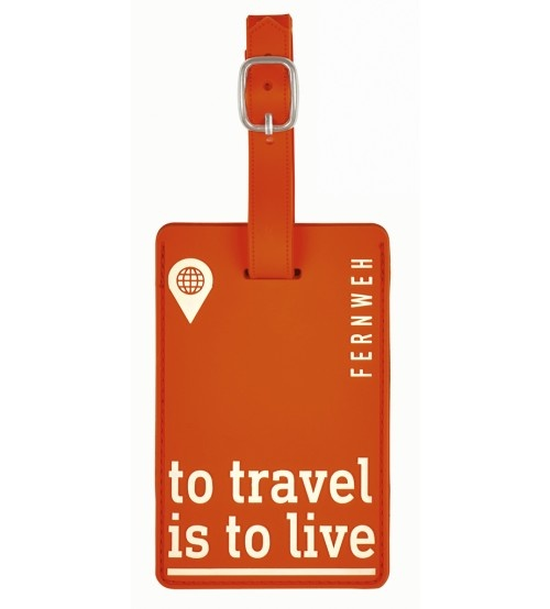 Moses kofferlabel To Travel is To Live 11 x 7 cm oranje kopen