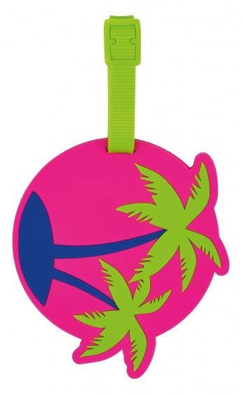 Moses siliconen kofferlabel Palmboom junior 10 x 10 cm roze kopen