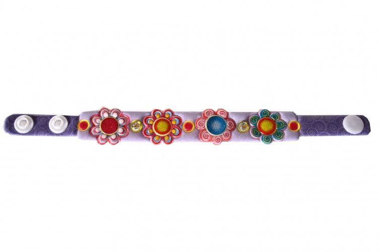 Amigo Sparking Armband Met 4 Bloemen Paars