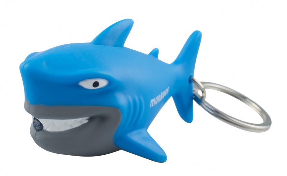 Munkees sleutelhanger Haai met lampje blauw junior 6,4 cm
