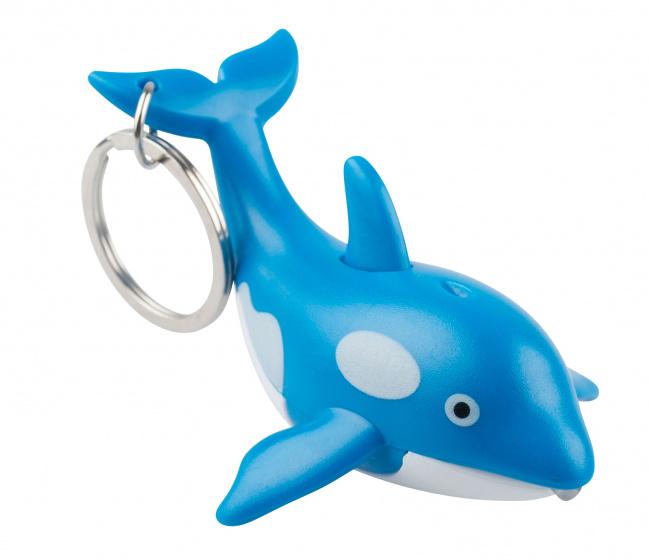 Munkees sleutelhanger Walvis met lampje blauw junior 7,4 cm