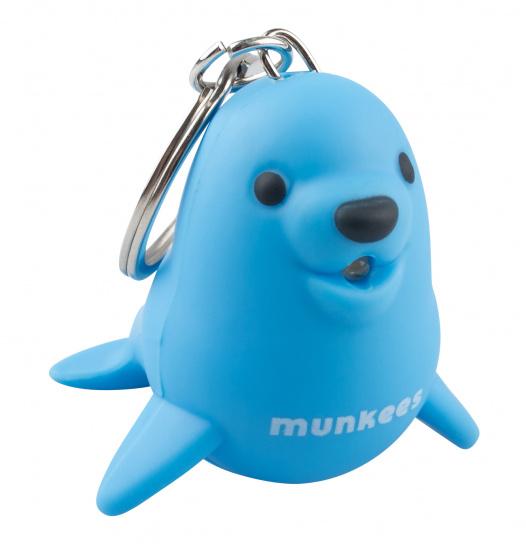 Munkees sleutelhanger Zeehond met lampje blauw junior 4,7 cm