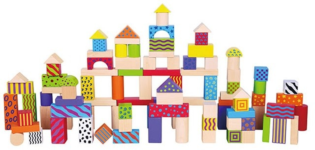 New Classic Toys Bouwblokken Patronen in Ton 100 Stuks