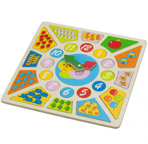 New Classic Toys klokpuzzel Educational 30 x 30 cm hout 3 delig
