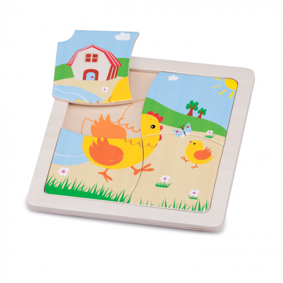 New Classic Toys mini puzzel kip junior 15 cm hout