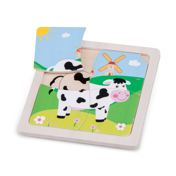 New Classic Toys mini puzzel koe junior 15 cm hout 5 delig