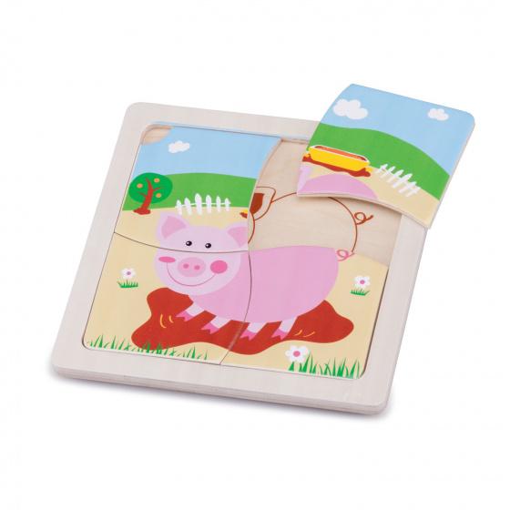New Classic Toys mini puzzel varken junior 15 cm hout