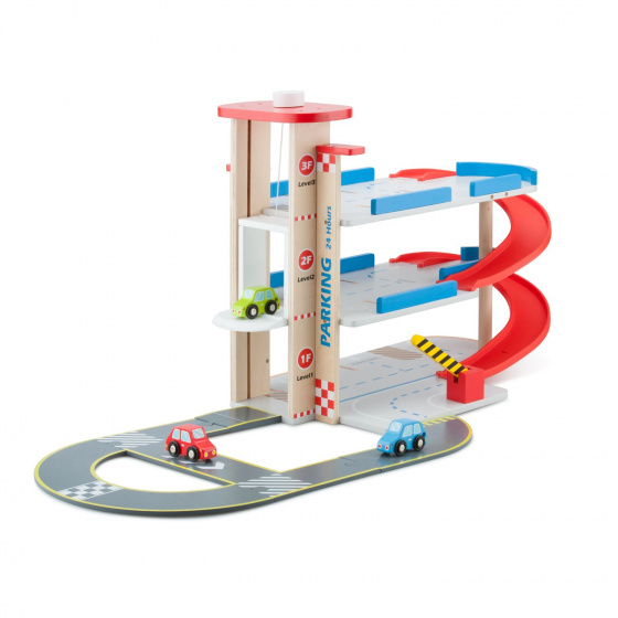 New Classic Toys parkeergarage 57,5 cm hout bruin/rood 4 delig
