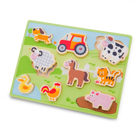 New Classic Toys puzzel Chunky Farm junior 30 cm hout 10 delig