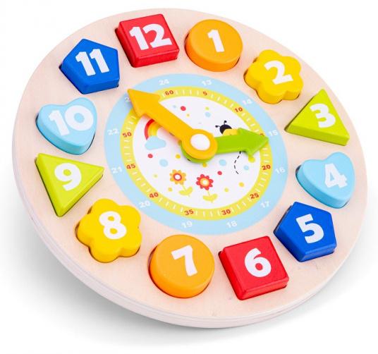 New Classic Toys puzzelklok Educational 22 x 22 cm hout 4 delig