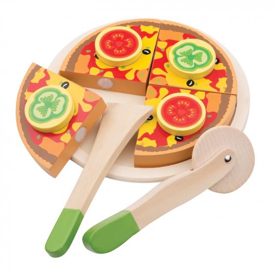 New Classic Toys snijset pizza groente junior 16 cm hout 7 delig