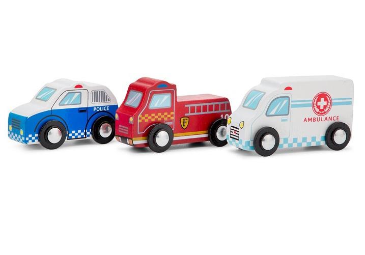 New Classic Toys voertuigen set junior hout rood/wit/blauw 3 delig