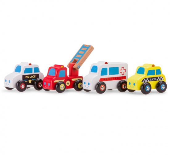 New Classic Toys voertuigen set junior hout rood/wit/geel 4 delig