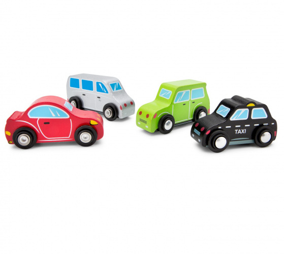New Classic Toys voertuigenset junior hout rood/groen/wit 4 delig