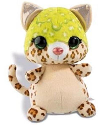 Nici knuffel luipaard junior 12 cm pluche bruin/lime