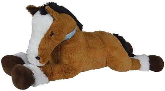Nicotoy pluchen knuffel liggen paard 120 cm bruin