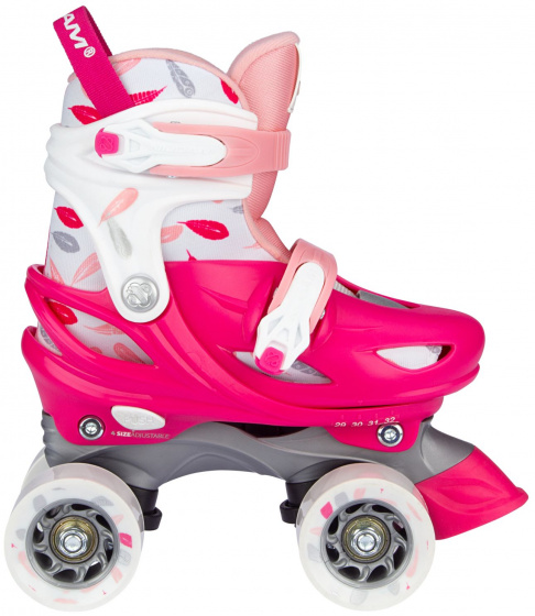 roller skates Feather Drops polyester pink/white mt 29-32
