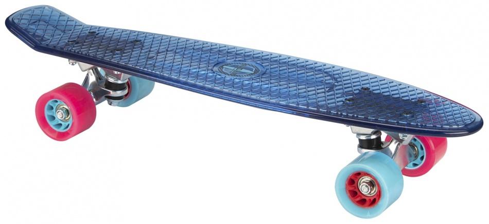 Nijdam Skateboard 57 cm transparant/lichtblauw/fuchsia