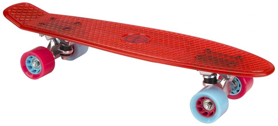 Nijdam Skateboard 57 cm transparant/rood/lichtblauw