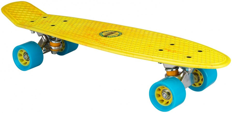 Nijdam skateboard kunststof geel/blauw 57 x 15 cm