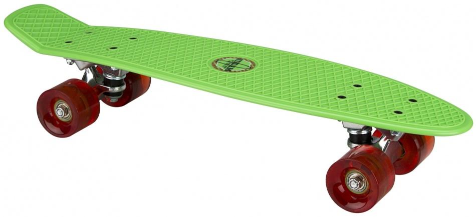 Nijdam Skateboard Flip Grip LED wielen 57 cm groen/rood