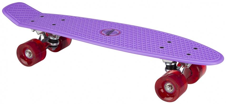 Nijdam Skateboard Flip Grip LED wielen 57 cm paars/fuchsia