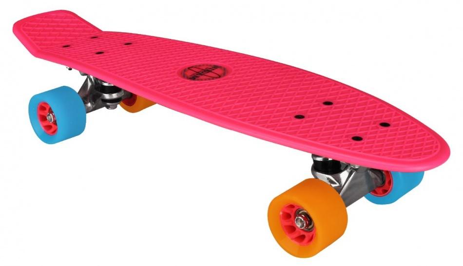 Nijdam Skateboard Plastic 57cm fuchsia/oranje/blauw