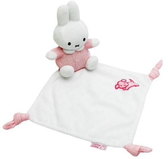 Nijntje knuffeldoekje wit/roze 24 x 16 cm