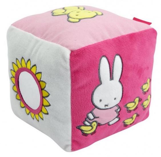 Nijntje pluche kubus 15 cm roze