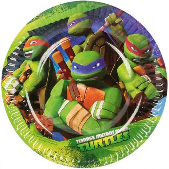 Nickelodeon kartonnen feestborden Ninja Turtles 18 cm 8 stuks