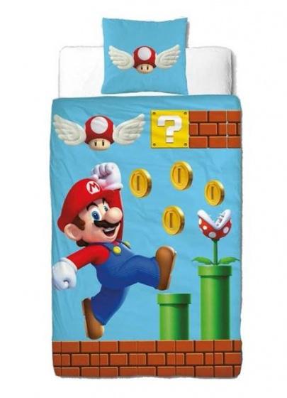 Nintendo dekbedovertrek Super Mario 140 x 200 cm blauw