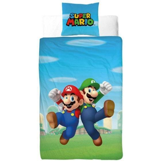 Nintendo dekbedovertrek Super Mario 140 x 200 cm blauw/groen